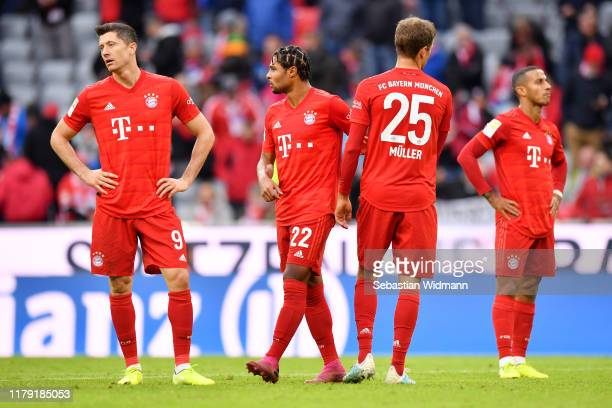 Bayern Muenchen fans reacts after the Bundesliga match between FC Bayern Muenchen and TSG 1899 Hoffenheim at Allianz Arena on October 05 2019 in...