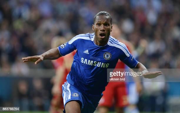 FUSSBALL SAISON FC Bayern Muenchen FC Chelsea Didier Drogba bejubelt seinen Treffer zum 11