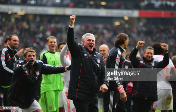 Bayern Muenchen head coach Jupp Heynckes celebrates winning the Bundesliga after the match between Eintracht Frankfurt and FC Bayern Muenchen at the...