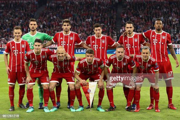 Bayern Muenchen line up during the UEFA Champions League Semi Final First Leg match between Bayern Muenchen and Real Madrid at the Allianz Arena on...