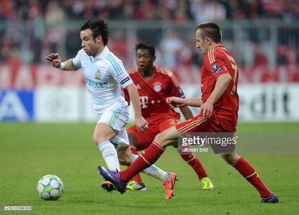 FUSSBALL CHAMPIONS FC Bayern Muenchen Marseille Mathieu Valbuena gegen Franck Ribery