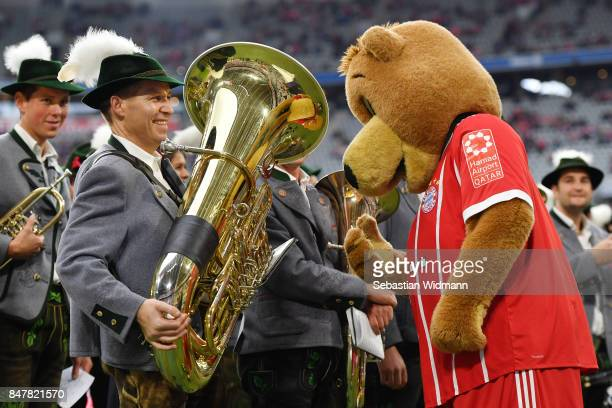 Bayern Muenchen mascot Berni with the brass band before the Bundesliga match between FC Bayern Muenchen and 1 FSV Mainz 05 at Allianz Arena on...