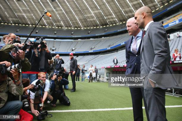 Bayern Muenchen new Head Coach Josep Guardiola visits with Matthias Sammer sporting director of Bayern Muenchen the Allianz Arena on the day he is...