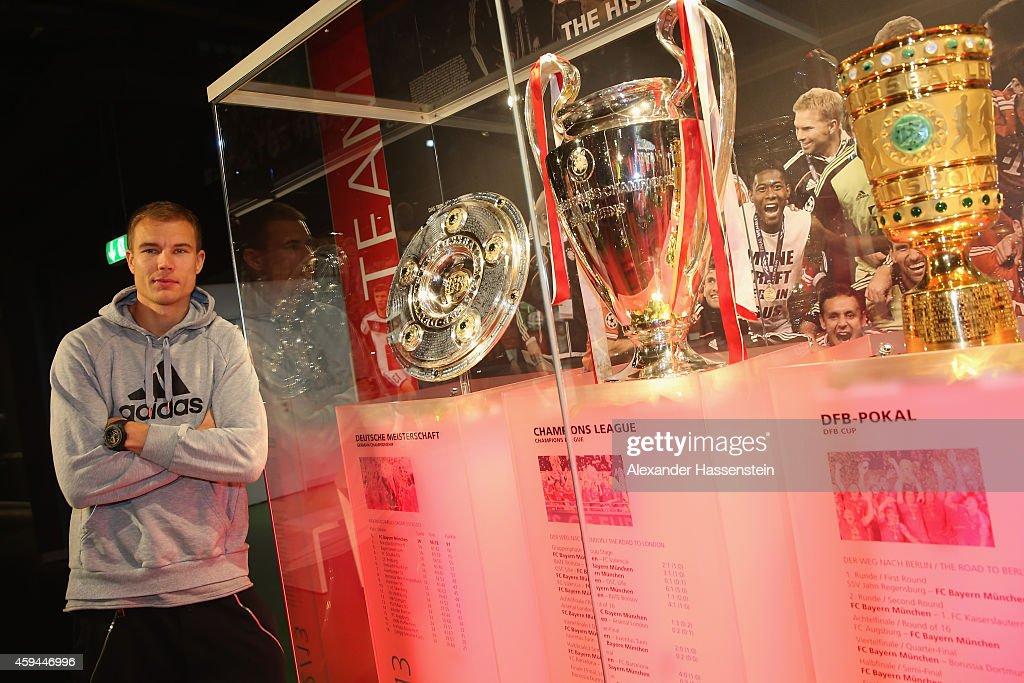 FC Bayern Muenchen player Holger Badstuber visits the FC Bayern Erlebniswelt museum at Allianz Arena on November 23, 2014 in Munich, Germany.