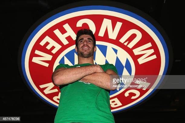 Bayern Muenchen player Javier Martinez visits the FC Bayern Erlebniswelt museum at Allianz Arena on October 19 2014 in Munich Germany