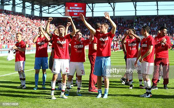 Bayern Muenchen players celebrate the Bundesliga champions after beating Ingolstadt 21 in the Bundesliga match between FC Ingolstadt and FC Bayern...