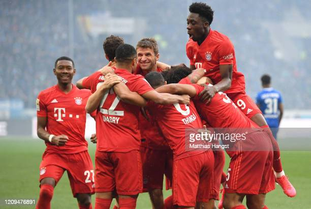 Bayern Muenchen players celebrate the fifth goal scored by Philippe Coutinho of Bayern Munich during the Bundesliga match between TSG 1899 Hoffenheim...
