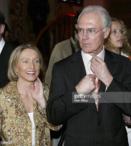 Bayern Muenchen president Franz Beckenbauer and Heidrun Burmester attend the Audi Evening at Hotel Tenne at the Hahnenkamm Ski Races January 23 2004...