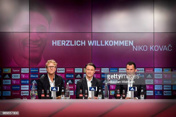 Bayern Muenchen press officer Dieter Nickles, head coach Niko Kovac and sports manager Hasan Salihamidzic look on during FC Bayern Muenchen's season...