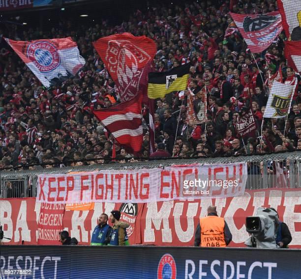 FUSSBALL FC Bayern Muenchen PSV Eindhoven FC Bayern Ultras von der Schickeria in der Suedkurve der Allianz Arena mit dem Banner Keep Fighting English