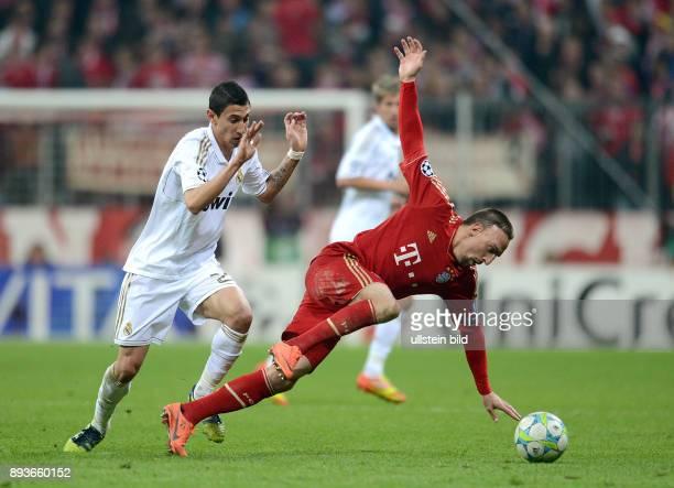 FUSSBALL CHAMPIONS FC Bayern Muenchen Real Madrid Angel Di Maria gegen Franck Ribery