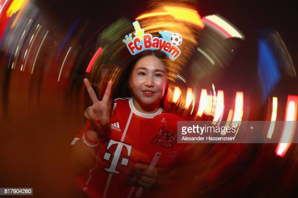 Bayern Muenchen supoortes smiles as players visiting the Oriental Pearl Tower during the Audi Summer Tour 2017 on July 18 2017 in Shanghai China
