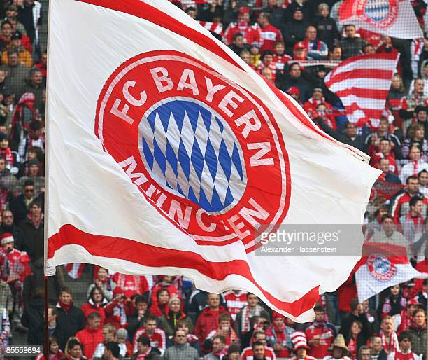 Bayern Muenchen supporters are seen during the Bundesliga match between FC Bayern Muenchen and Karlsruher SC at the Allianz Arena on March 21 2009 in...