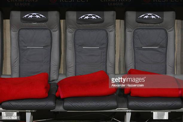 Bayern Muenchen team bench seen prior to the UEFA Champions League group F match between FC Bayern Muenchen and LOSC Lille at Allianz Arena on...