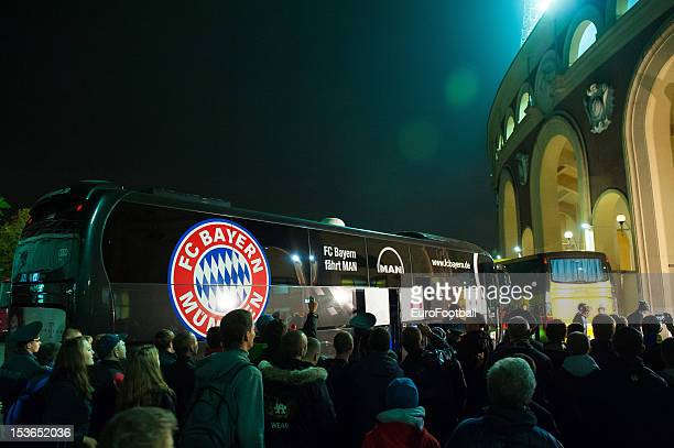 Bayern Muenchen team bus arrives at the Dinamo Stadium home of FC BATE Borisov during the UEFA Champions League group stage match between FC Bayern...