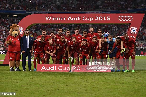 Bayern Muenchen team celebrates after the Audi Cup 2015 Final between FC Bayern Muenchen and Real Madrid at Allianz Arena on August 5 2015 in Munich...