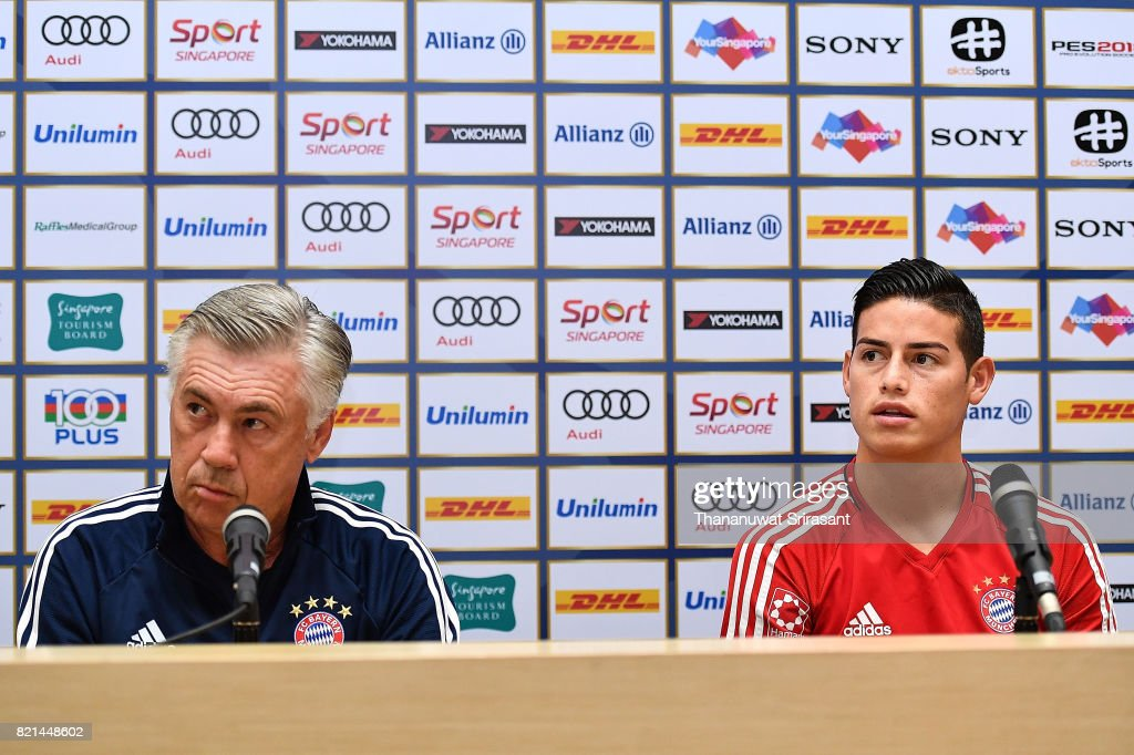 FC Bayern Muenchen team manager Carlo Ancelotti and James Rodriguez #11 of FC Bayern Muenchen look during an International Champions Cup FC Bayern training session at Geylang Field on July 24, 2017 in Singapore.