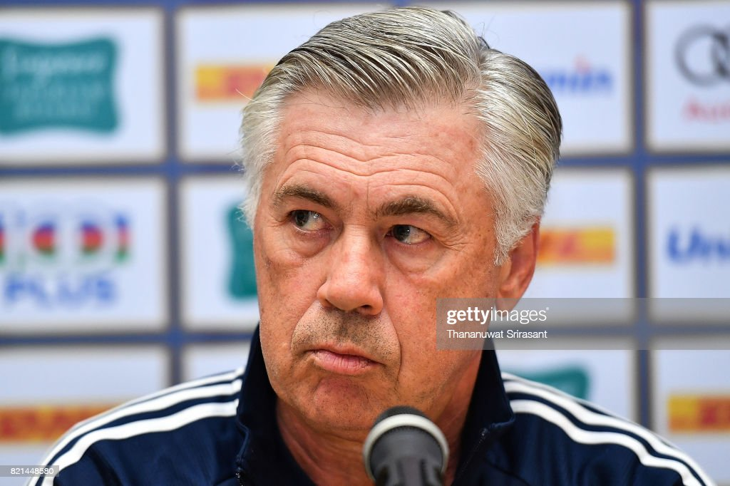 FC Bayern Muenchen team manager Carlo Ancelotti looks during an International Champions Cup FC Bayern training session at Geylang Field on July 24, 2017 in Singapore.