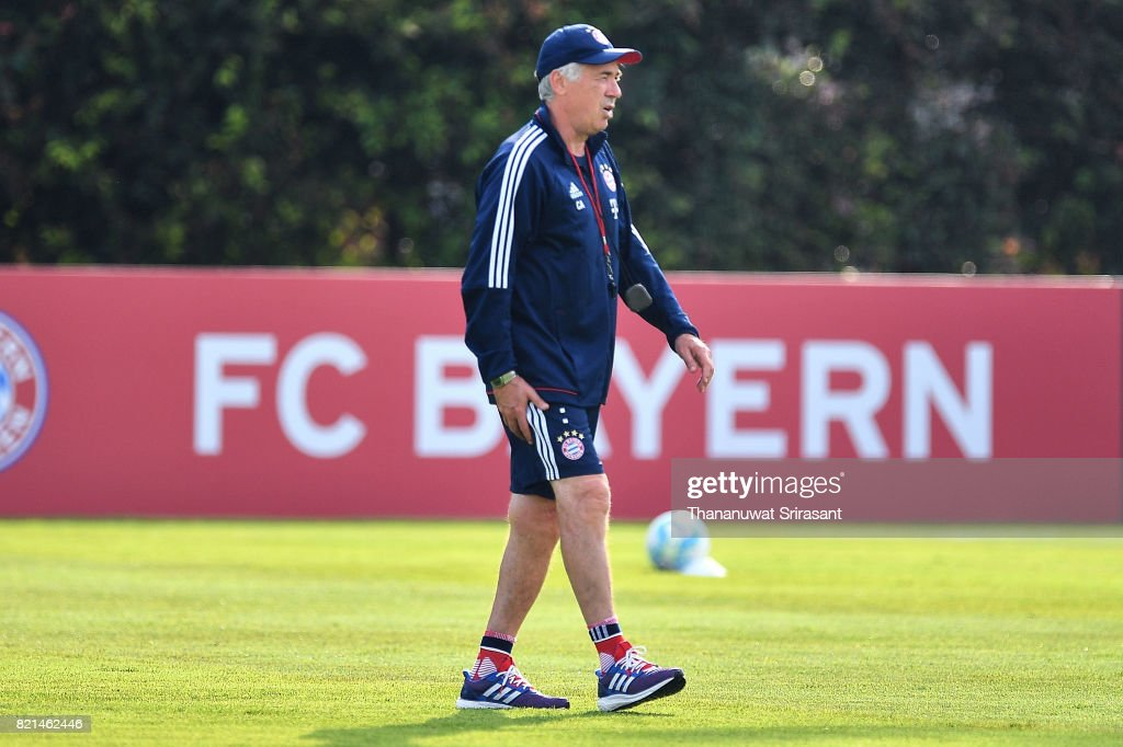 FC Bayern Muenchen team manager Carlo Ancelotti walks during an International Champions Cup FC Bayern training session at Geylang Field on July 24, 2017 in Singapore.