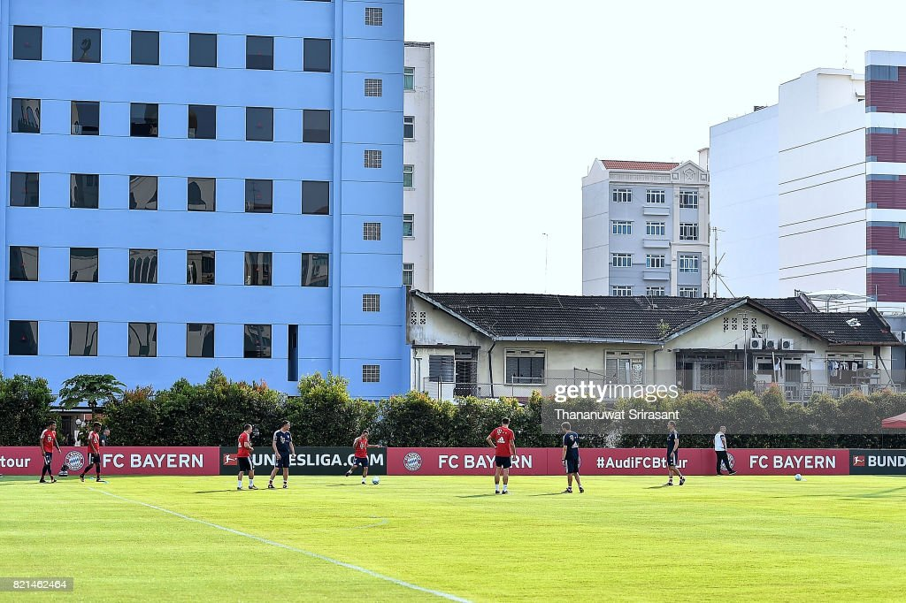 FC Bayern Muenchen team trains during an International Champions Cup FC Bayern training session at Geylang Field on July 24, 2017 in Singapore.
