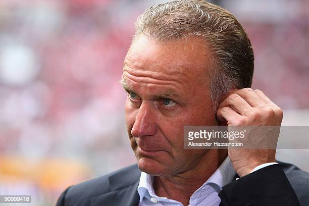 Bayern Muenchen's CEO KarlHeinz Rummenigge looks on prior to the Bundesliga match between FC Bayern Muenchen and 1 FC Nuernberg at Allianz Arena on...