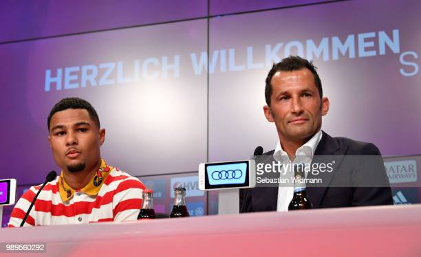 Bayern Muenchen's new player Serge Gnabry talks to the media during FC Bayern Muenchen's season opening press conference at Allianz Arena on July 2...