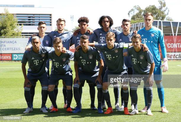 Bayern Munchen players pose for a team photo before the start of the UEFA Youth League match between SL Benfica and FC Bayern Munchen at Caixa...