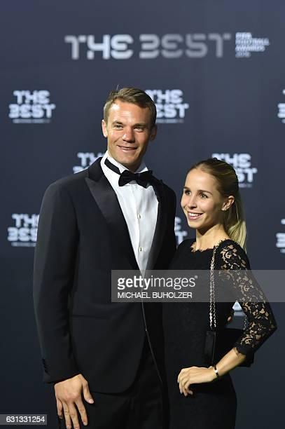FC Bayern Munich and Germany's goalkeeper Manuel Neuer arrives with his partner Nina Weiss for The Best FIFA Football Awards 2016 ceremony on January...