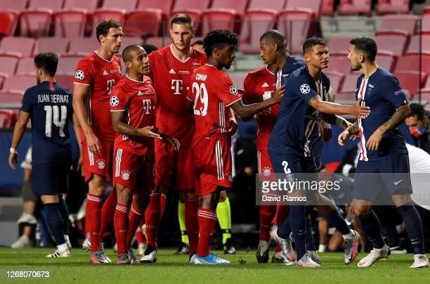 Bayern Munich and Paris Saint-Germain players clash during the UEFA Champions League Final match between Paris Saint-Germain and Bayern Munich at...