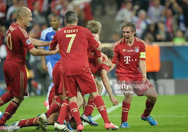 Bayern Munich captain Philipp Lahm right celebrates Thomas Mueller's goal during the UEFA Champions League Final between FC Bayern Munich and Chelsea...