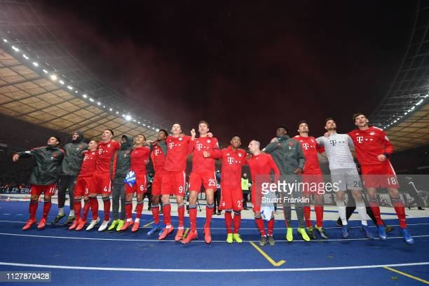 Bayern Munich celebrate during the DFB Cup match between Hertha BSC and FC Bayern Muenchen at Olympiastadion on February 06 2019 in Berlin Germany