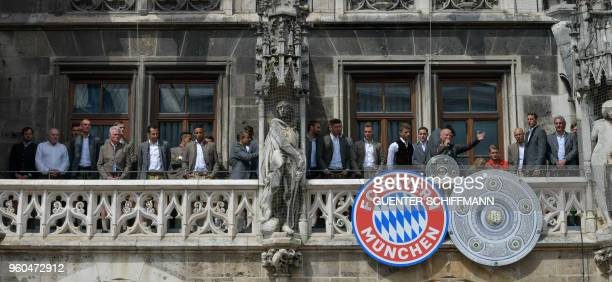 Bayern Munich celebrate on the balcony of the city hall in Munich southern Germany on May 20 2018