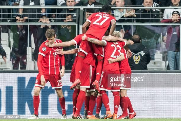 FC Bayern Munich celebrate the goal of Thiago Alcantara do Nascimento of FC Bayern Munich during the UEFA Champions League round of 16 match between...