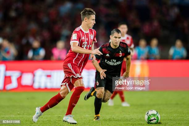 Bayern Munich Defender Marco Friedl plays against AC Milan Midfielder Jose Mauri during the 2017 International Champions Cup China match between FC...