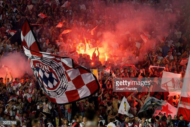 Bayern Munich fans during the DFBPokal Final match between FC Bayern Munich and 1FC Kaiserslautern held on May 31 2003 at the Olympic Stadium in...