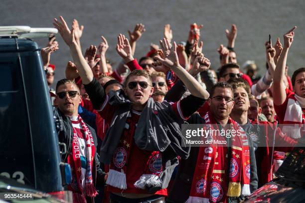 Bayern Munich fans in Santiago Bernabeu Stadium ahead of Champions League match against Real Madrid