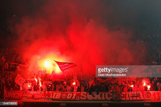 Bayern Munich fans light flares during the Group F UEFA Champions League match between OSC Lille and FC Bayern Muenchen at Grand Stade Lille...