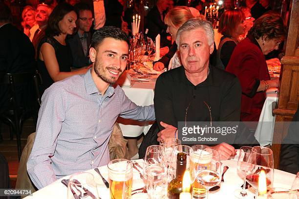 Bayern Munich head coach Carlo Ancelotti and his son Davide Ancelotti during the VIP premiere of Schubeck's Teatro at Spiegelzelt on November 3 2016...