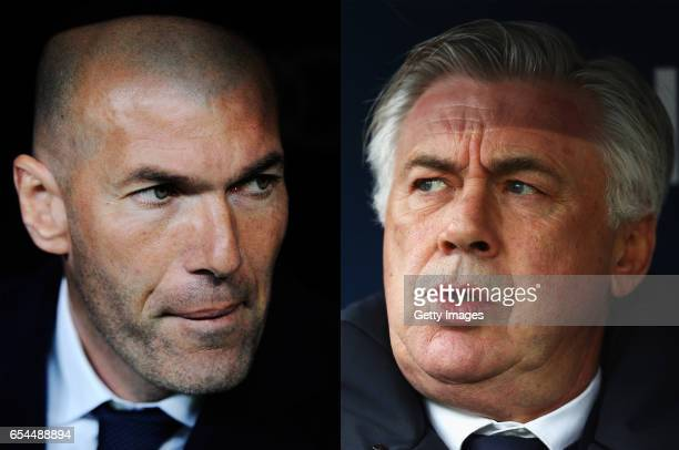 COMPOSITE OF TWO IMAGES Image numbers 516743572 and 619016290 In this composite image a comparision has been made between Real Madrid manager...