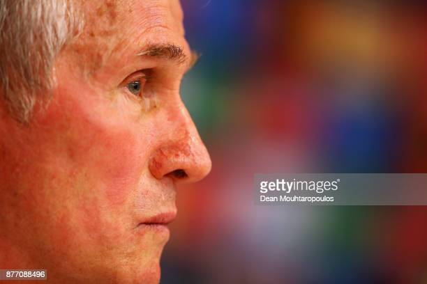 Bayern Munich Head Coach / Manager Jupp Heynckes speaks to the media during the Press Conference held at the Constant Vanden Stock Stadium on...