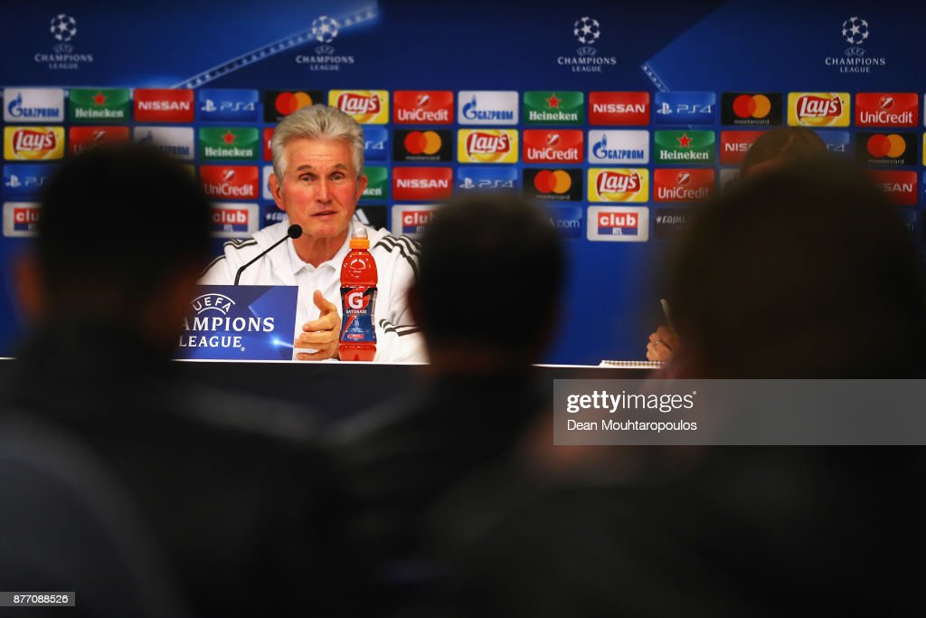 Bayern Munich Head Coach / Manager, Jupp Heynckes speaks to the media during the Press Conference held at the Constant Vanden Stock Stadium on November 21, 2017 in Brussels, Belgium. R.S.C. Anderlecht will play Bayern Munich in their Group B, Champions League match on the 22nd of November, 2017.