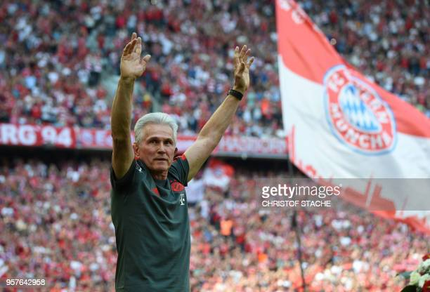 TOPSHOT Bayern Munich headcoach Jupp Heynckes waves during a farewell ceremony prior to the German first division Bundesliga football match FC Bayern...