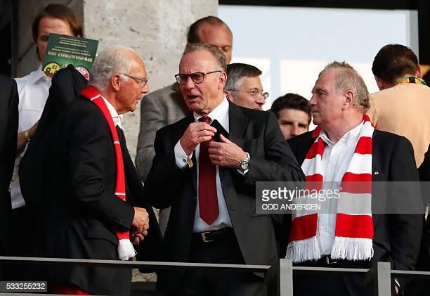 Bayern Munich Honorary President Franz Beckenbauer , Bayern Munich CEO Karl-Heinz Rummenigge and Former Bayern Munich President Uli Hoeness talk...