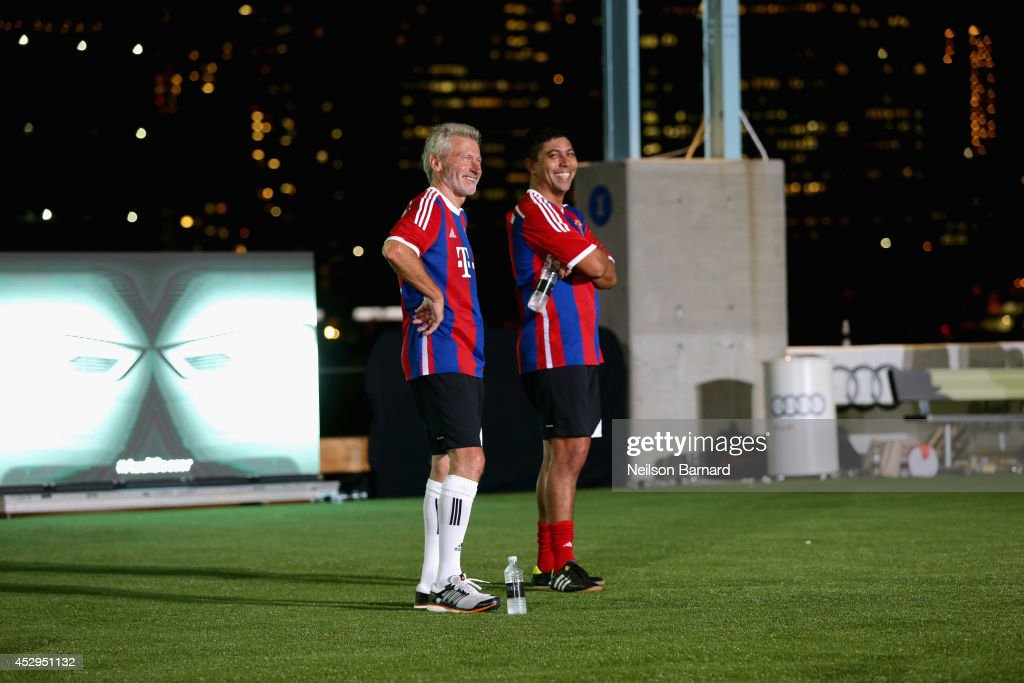 FC Bayern Munich legends Paul Breitner and Giovane Elber at the Audi Soccer Pick-Up Game at Pier 2 at Brooklyn Bridge Park on July 30, 2014 in Brooklyn borough of New York City.