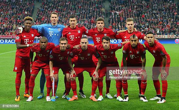 Bayern Munich line up prior to the UEFA Champions League quarter final first leg match between FC Bayern Muenchen and SL Benfica at Allianz Arena on...
