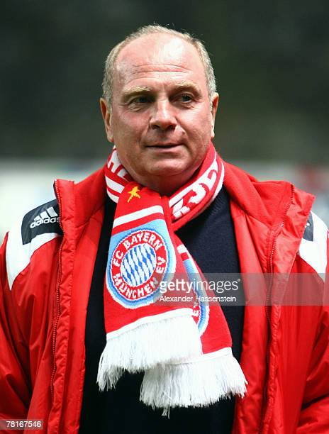 Bayern Munich manager Ulli Hoeness looks on during the UEFA Cup Group F match between SC Braga and FC Bayern Munich at the Estadio AXA on November 29...