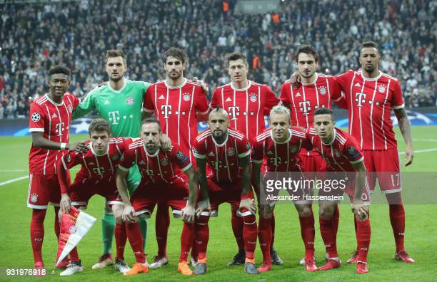 Bayern Munich palyers line up prior to the UEFA Champions League Round of 16 Second Leg match Besiktas and Bayern Muenchen at Vodafone Park on March...
