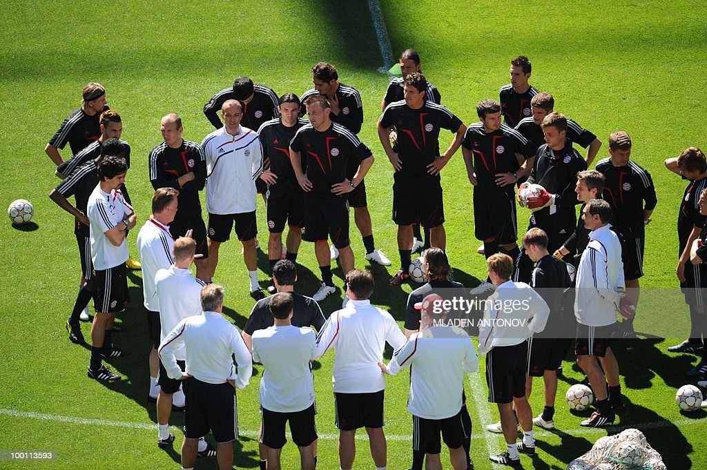 Bayern Munich player gather for a training session at the Santiago Bernabeu stadium in Madrid on May 21, 2010 on the eve of the UEFA Champions League final football match. Inter Milan will face Bayern Munich in the UEFA Champions League final match to be played at the Santiago Bernabeu Stadium in Madrid on May 22, 2010.