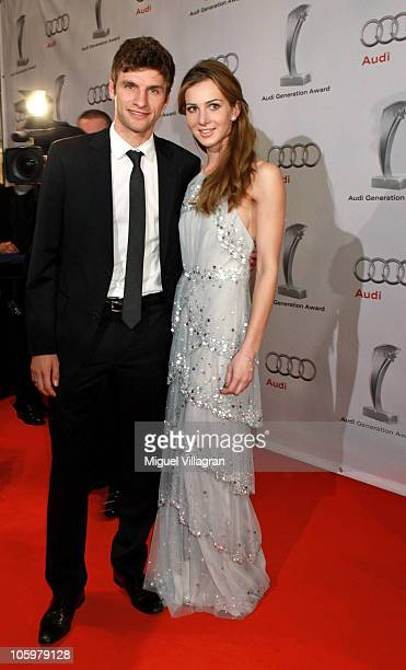 Bayern Munich player player Thomas Mueller and his wife Lisa attend the Audi Generation Award 2010 at Hotel Bayerischer Hof on October 23 2010 in...