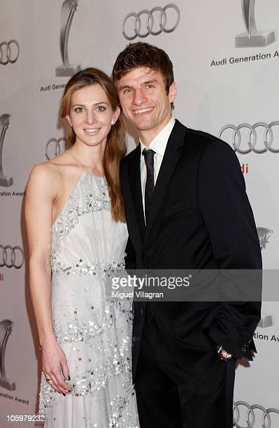 Bayern Munich player Thomas Mueller and his wife Lisa attend the Audi Generation Award 2010 at Hotel Bayerischer Hof on October 23 2010 in Munich...